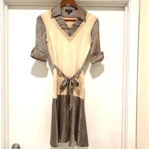 bebe Silk(78%) Sweater Shirt Dress